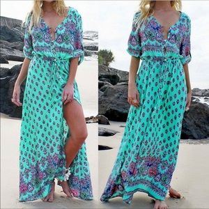 Dresses & Skirts - BOHEMIAN TURQUOISE BUTTON FRONT MAXI DRESS